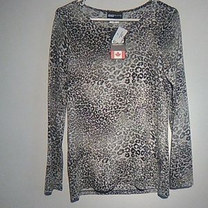 GG collection black tan leopard print LS sweater